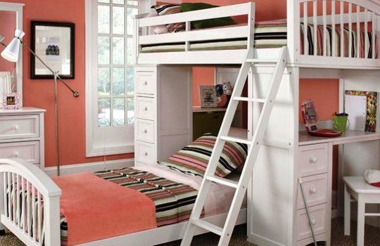 Gambar Tempat Tidur Anak Dua Susun Sederhana Minimalis Warna Putih Pink