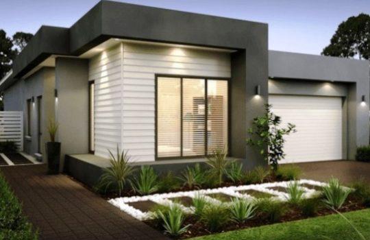 Rumah Modern Satu Tingkat Kotak Bersudut Tegas