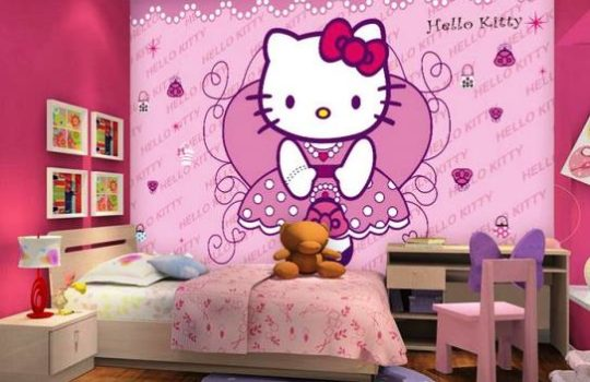 Wallpaper Dinding Kamar Tidur Hello Kitty Terbaru