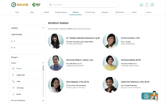 Fitur Booking Dokter SehatQ