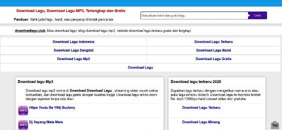 Tampilan Website Free Download MP3